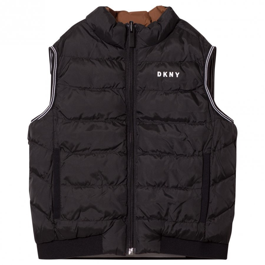 Dkny Reversible Puffer Gilet Black/Brown Toppaliivi