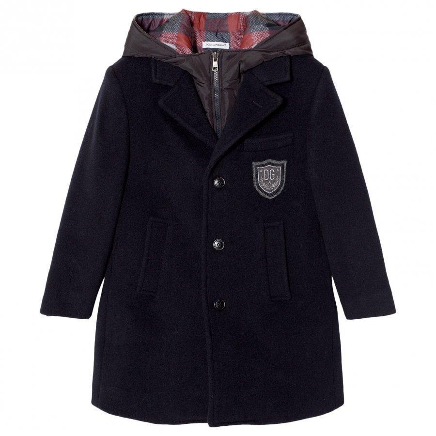 Dolce & Gabbana 3 In 1 Navy Wool Coat With Gilet Layer Talvitakki