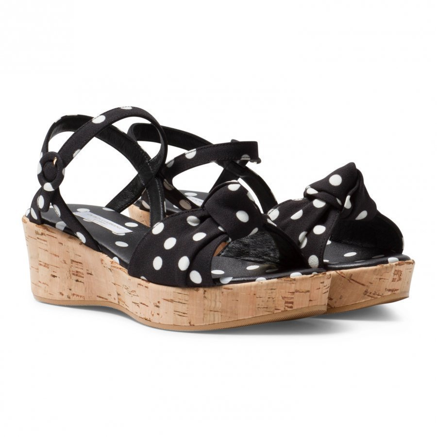 Dolce & Gabbana Black And White Spot Cork Wedge Sandal Remmisandaalit