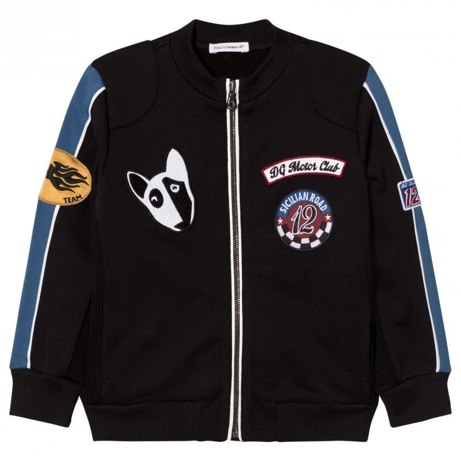 Dolce & Gabbana Black Applique Bomber Jacket Huppari