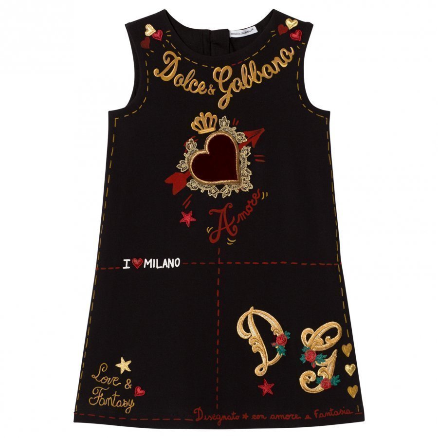 Dolce & Gabbana Black Heart Print Embroidered Sleeveless Dress Juhlamekko