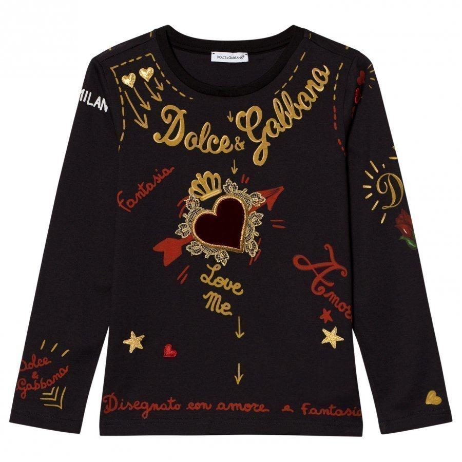 Dolce & Gabbana Black Heart Print Embroidered Tee T-Paita