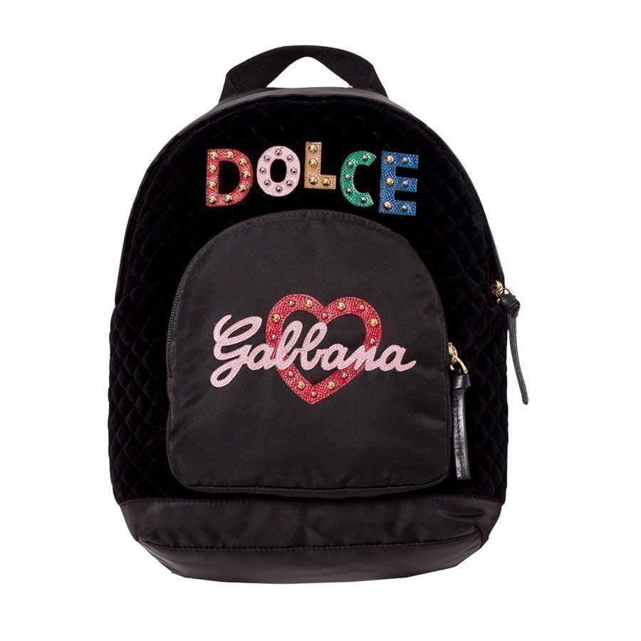 Dolce & Gabbana Black Leather And Nylon Embellished Branded Backpack Reppu