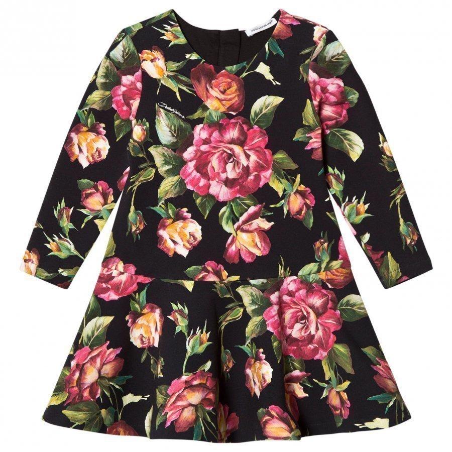 Dolce & Gabbana Black Rose Print Interlock Dress Mekko