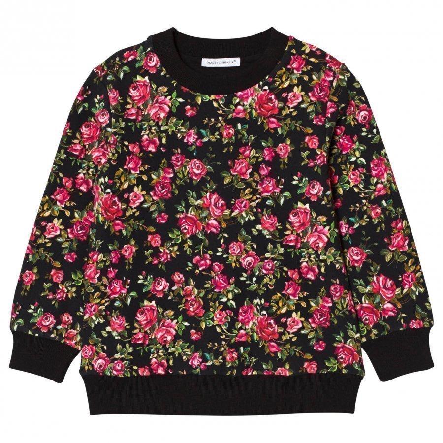 Dolce & Gabbana Black Rose Print Sweatshirt Oloasun Paita