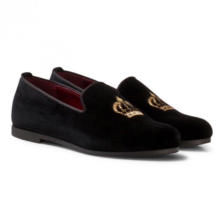 Dolce & Gabbana Black Velvet Crown Embroidered Slippers Loaferit