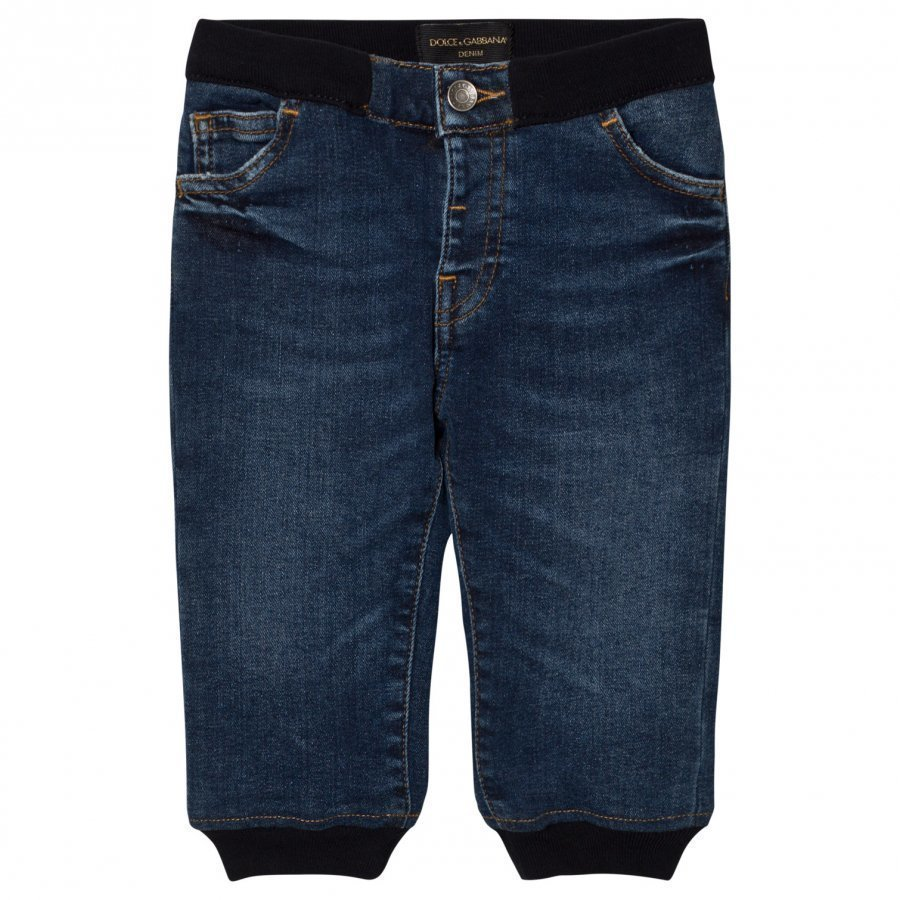 Dolce & Gabbana Blue Mid Wash Pull Up Jeans Farkut
