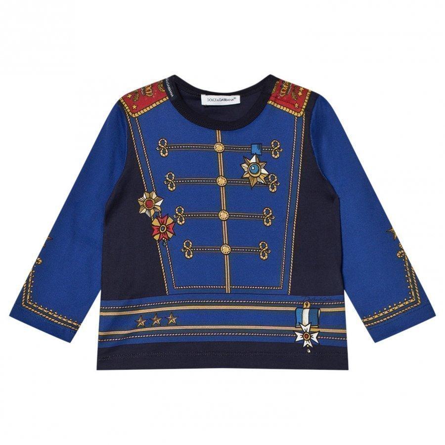 Dolce & Gabbana Blue Military Print Tee T-Paita
