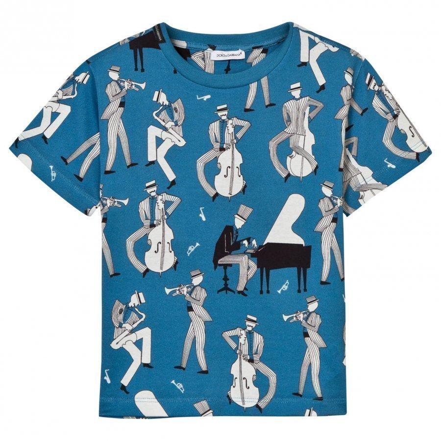 Dolce & Gabbana Blue Multi Musician Print Tee T-Paita