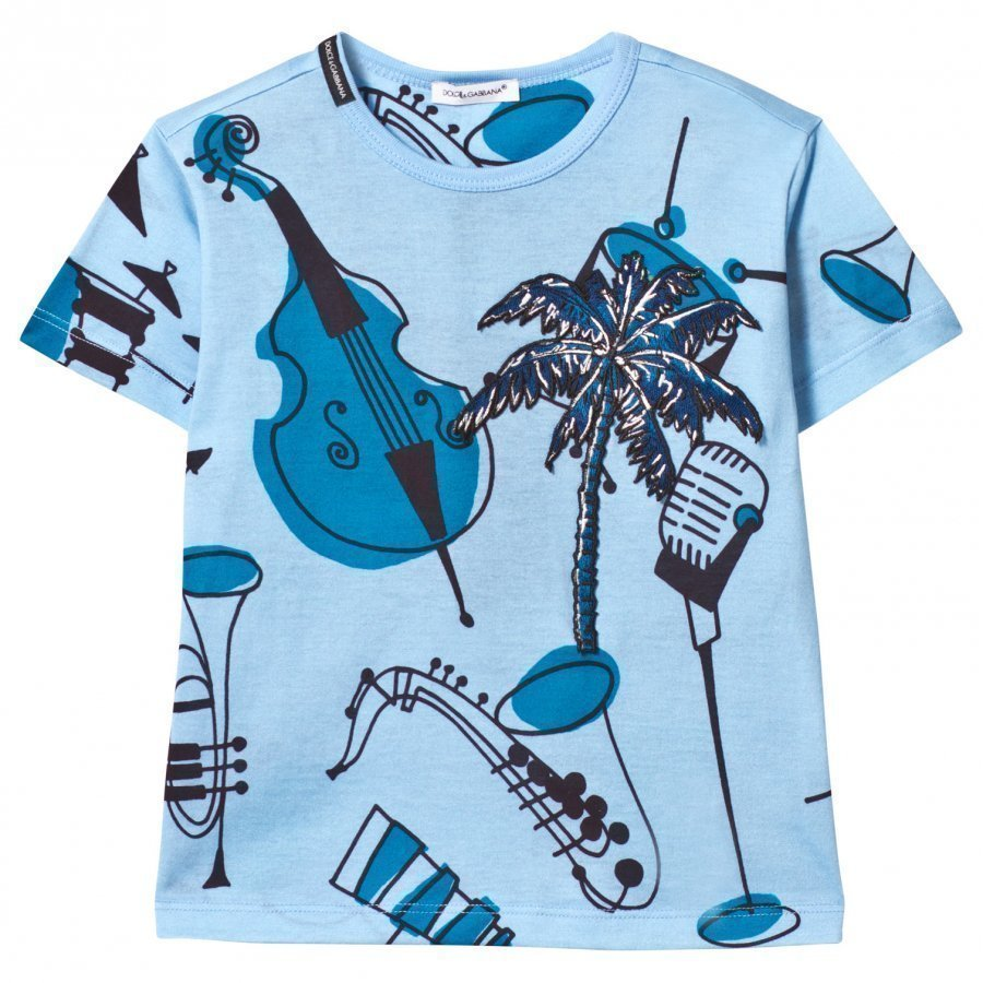 Dolce & Gabbana Blue Musical Instrument Print Tee With Palm Tree Applique T-Paita