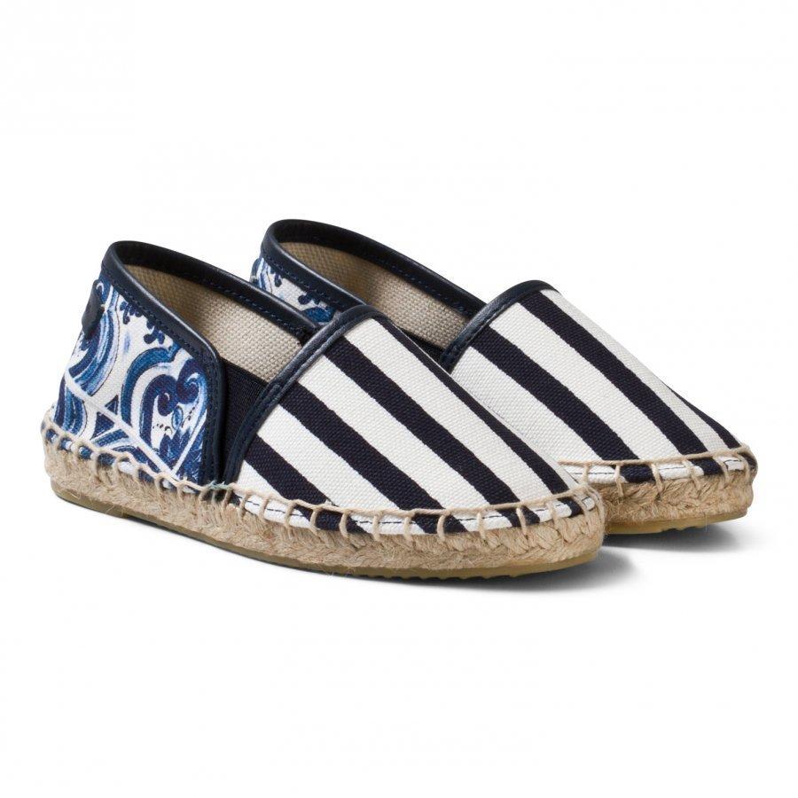 Dolce & Gabbana Blue Tile Majolica Print Espadrilles Espadrillot