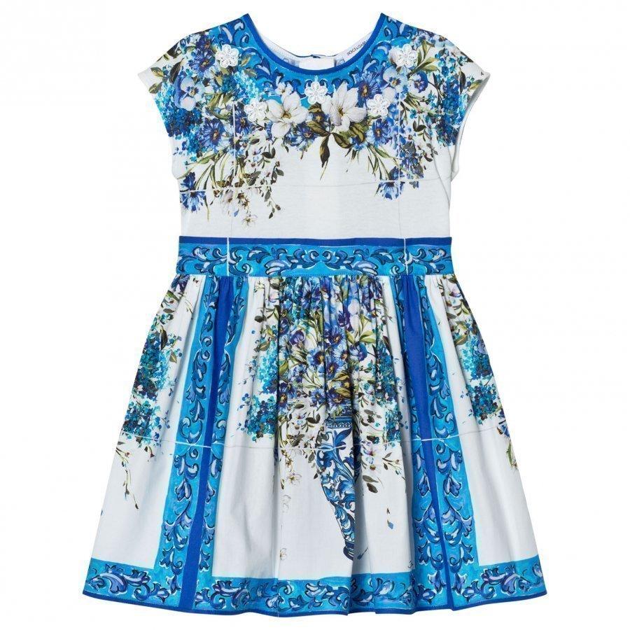 Dolce & Gabbana Blue White Floral Majolica Print Dress Juhlamekko