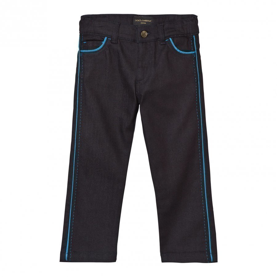 Dolce & Gabbana Dark Wash Jeans With Blue Piping Detail Farkut