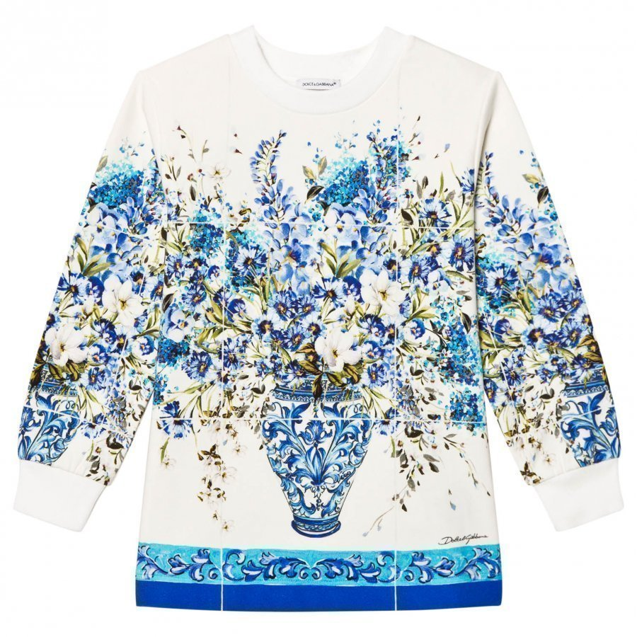 Dolce & Gabbana Floral Long Sleeve Tee White And Blue T-Paita