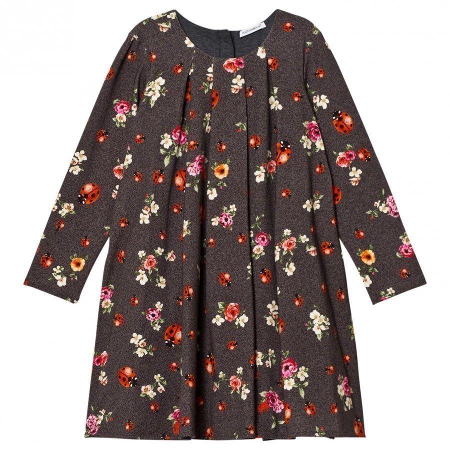 Dolce & Gabbana Grey Herringbone Floral And Lady Bird Print Interlock Dress Mekko