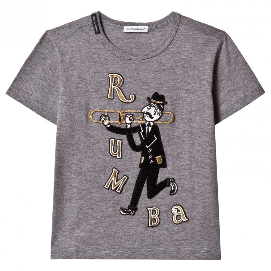 Dolce & Gabbana Grey Musician Rumba Applique Tee T-Paita