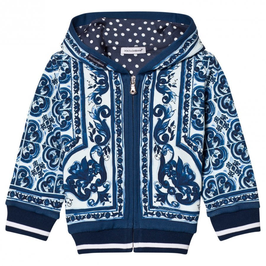 Dolce & Gabbana Hoodie In Printed Cotton Blue Huppari
