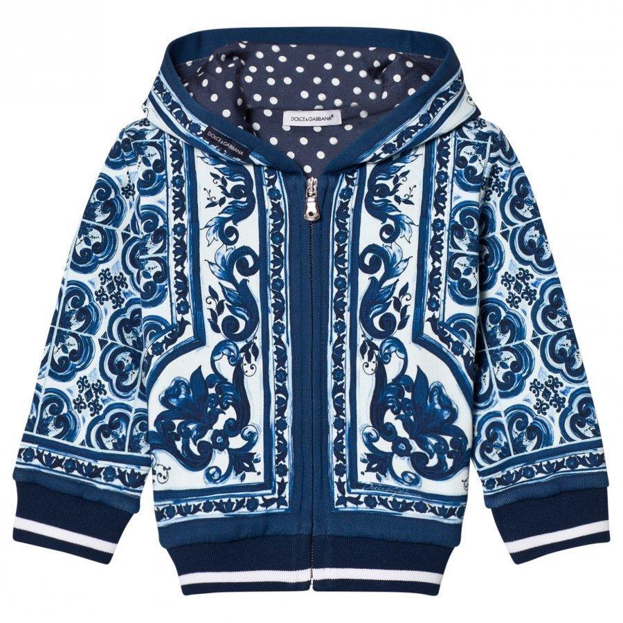 Dolce & Gabbana Hoodie In Printed Cotton Blue Huppari