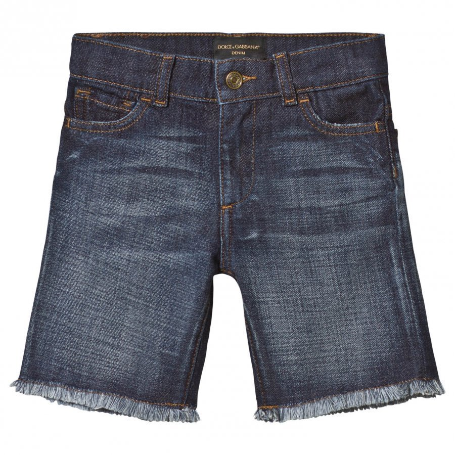 Dolce & Gabbana Mid Wash Denim Shorts With Frayed Edge Farkkushortsit