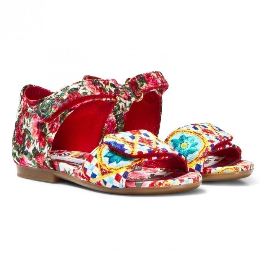Dolce & Gabbana Multi Majolica Brocade Sandal Remmisandaalit