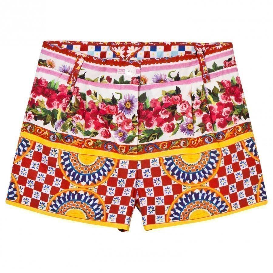 Dolce & Gabbana Multi Majolica Print Cotton Shorts Juhlashortsit