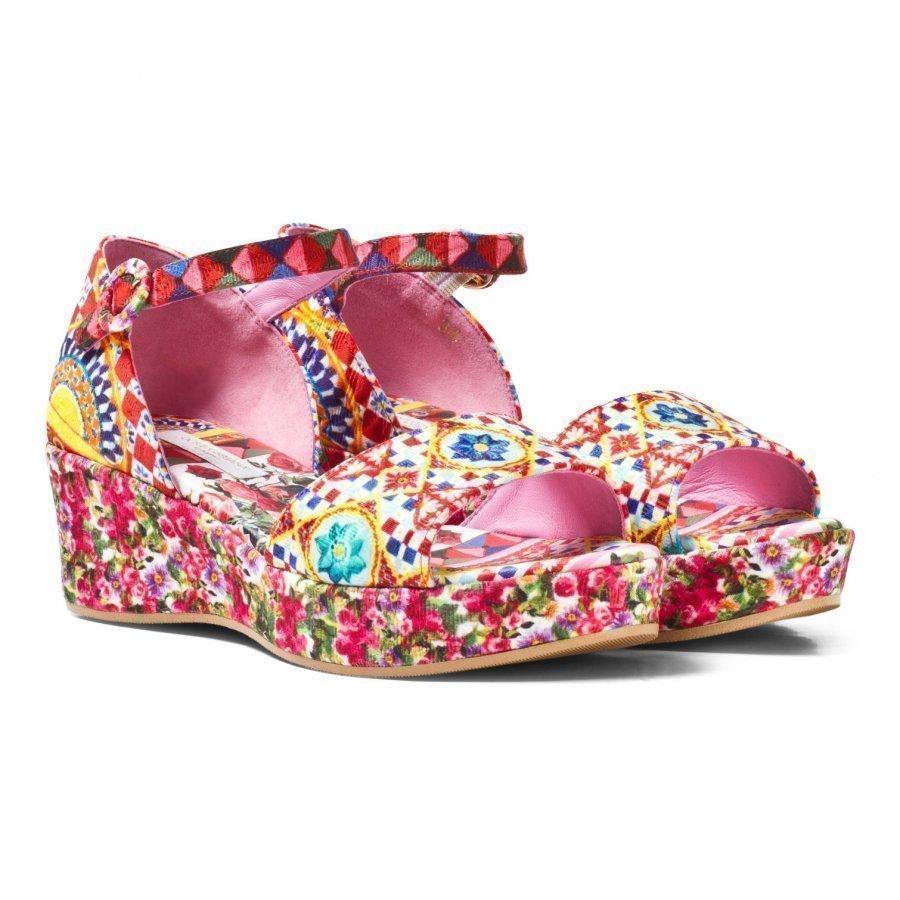 Dolce & Gabbana Multi Majolica Print Wedge Sandal Remmisandaalit
