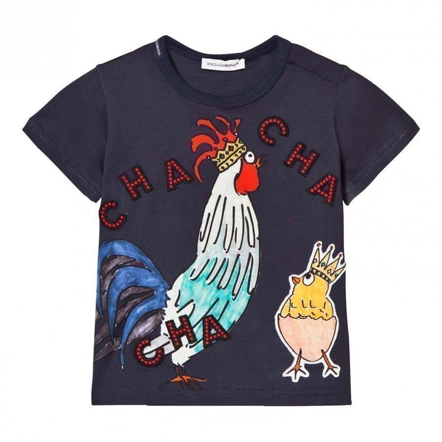 Dolce & Gabbana Navy Cockerel And Chick Applique Tee Chinese Ny T-Paita