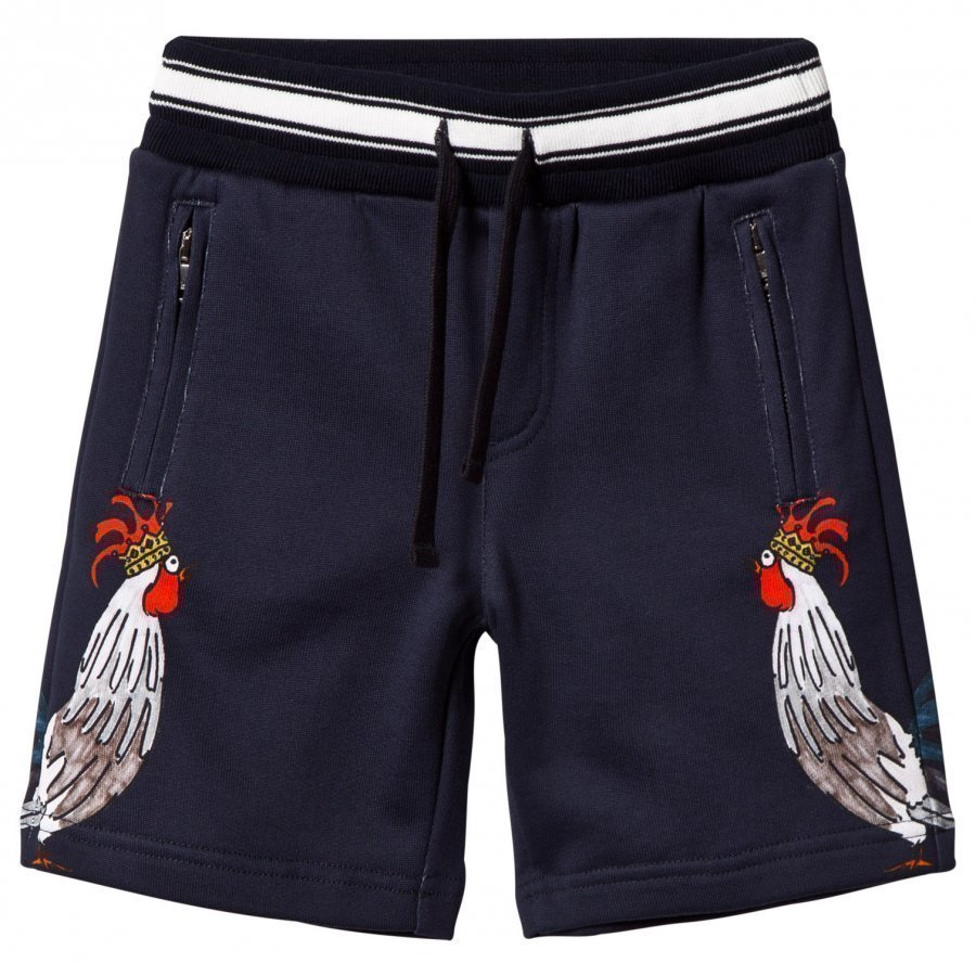 Dolce & Gabbana Navy Cockerel Print Sweat Shorts Oloasun Shortsit