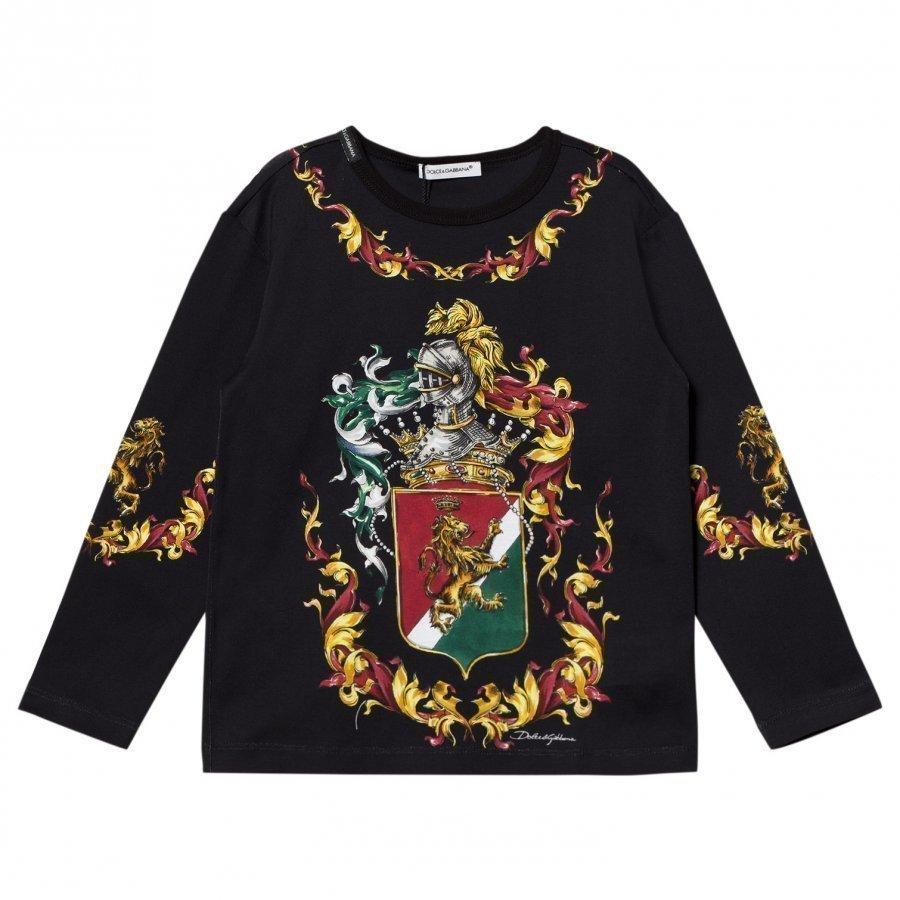 Dolce & Gabbana Navy Crest Print Long Sleeve Tee T-Paita