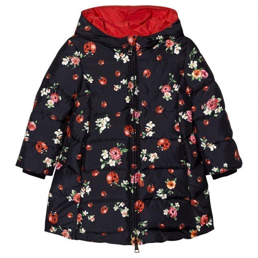 Dolce & Gabbana Navy Floral Lady Bird Print Puffer Coat Toppatakki