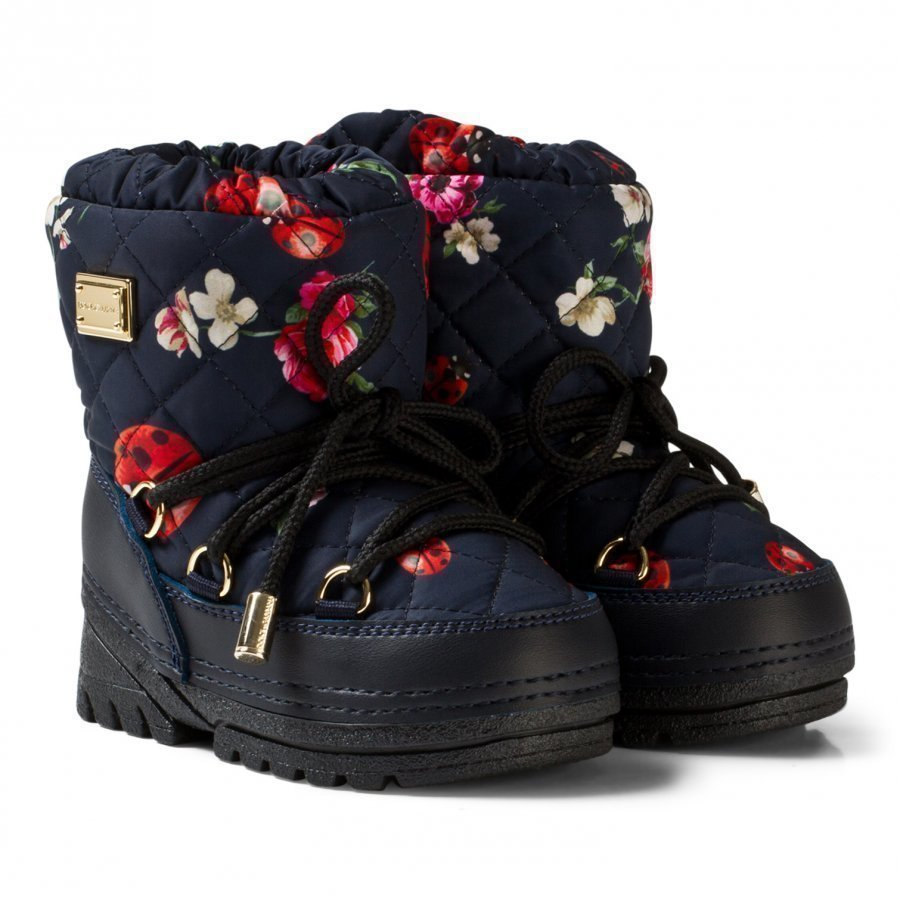 Dolce & Gabbana Navy Flower Print Snow Boots With Branded Plaque Talvisaappaat