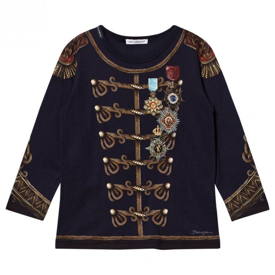 Dolce & Gabbana Navy Military Print Long Sleeve Tee T-Paita