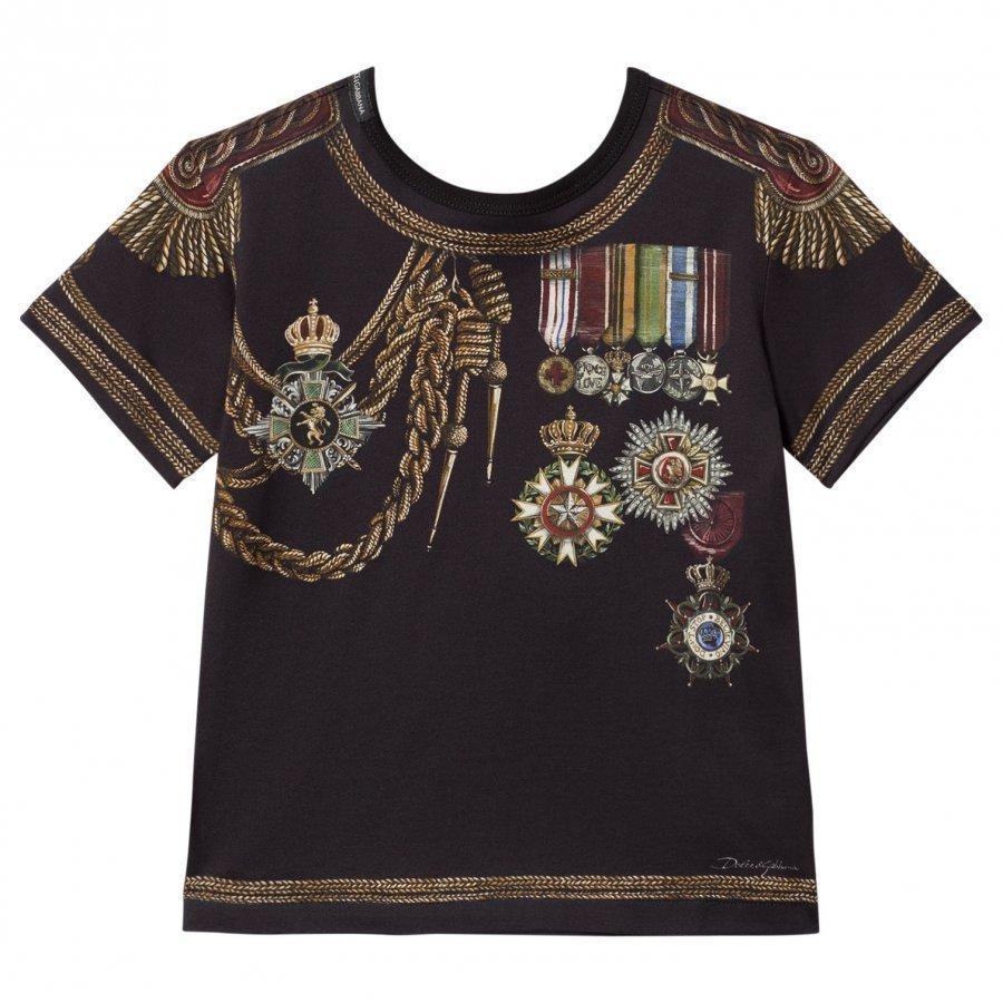 Dolce & Gabbana Navy Military Print Tee T-Paita