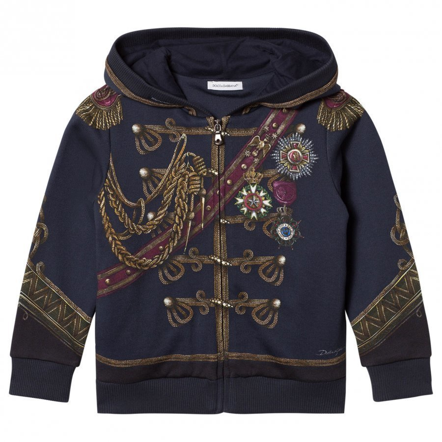 Dolce & Gabbana Navy Military Regalia Print Hoody Huppari