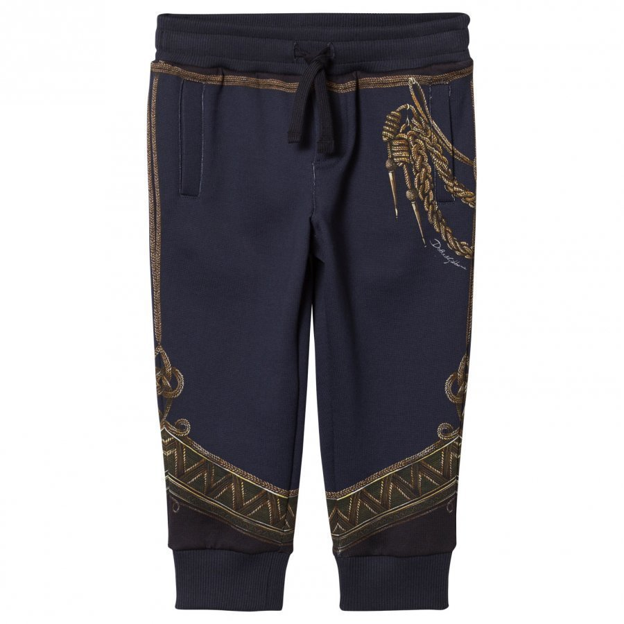 Dolce & Gabbana Navy Military Regalia Print Sweat Pants Verryttelyhousut