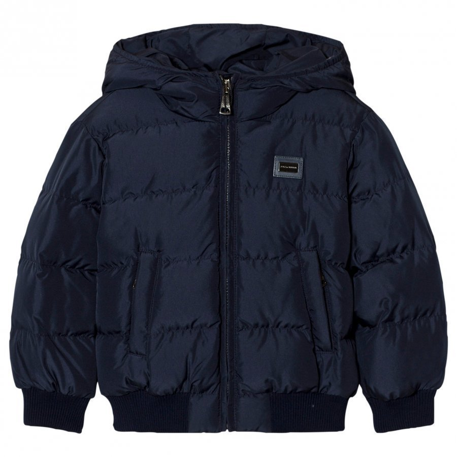 Dolce & Gabbana Navy Puffer Jacket With Branded Plaque Toppatakki