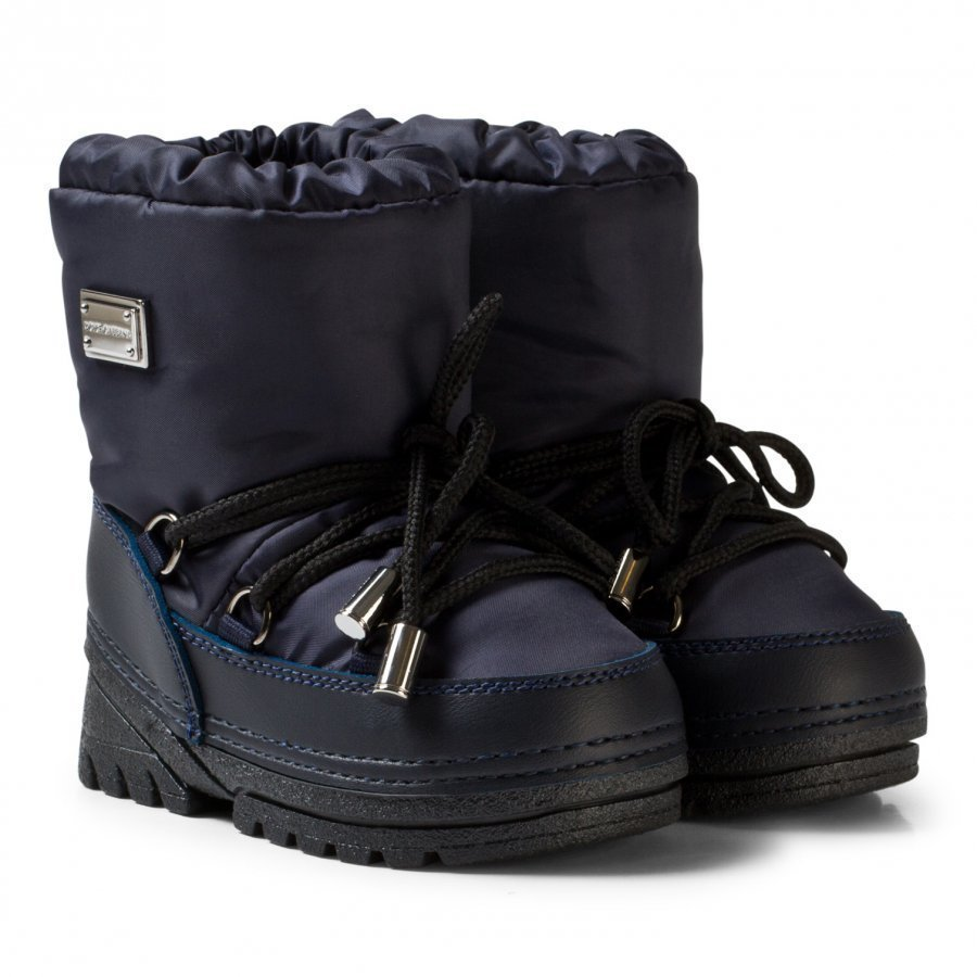 Dolce & Gabbana Navy Snow Boots With Branded Plaque Talvisaappaat