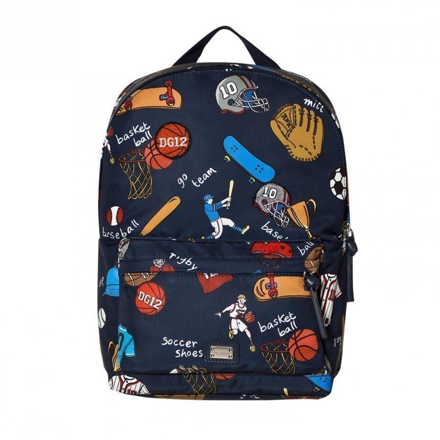 Dolce & Gabbana Navy Sports Cartoon Print Backpack Reppu