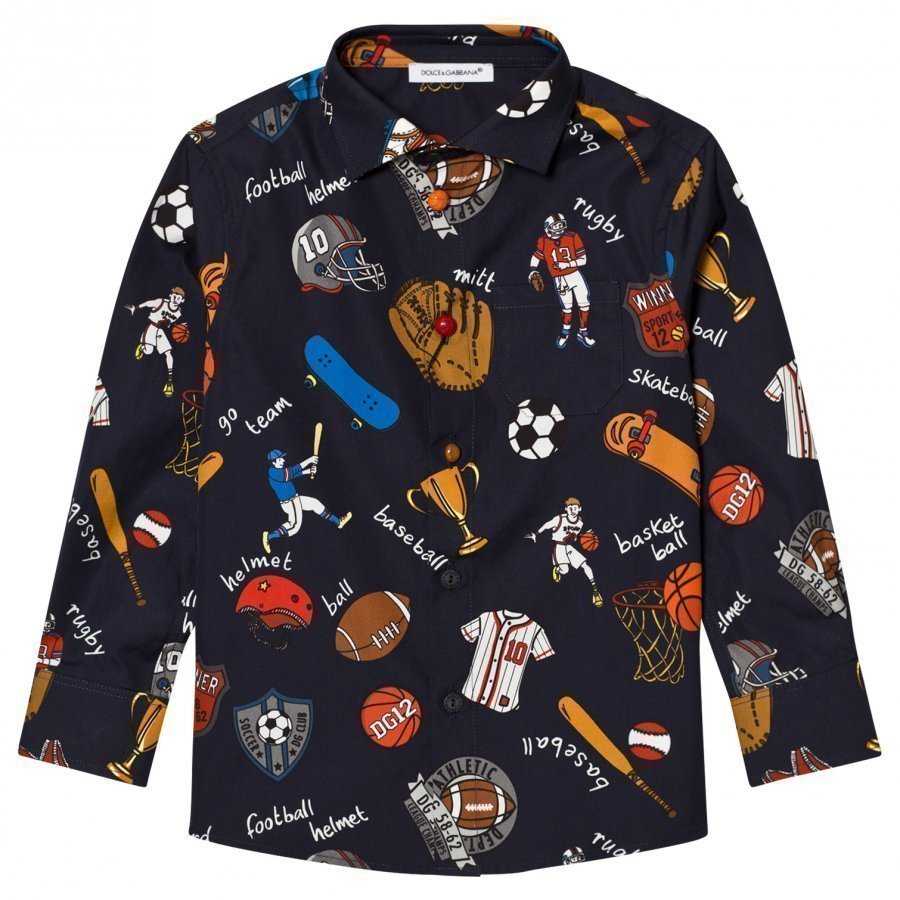 Dolce & Gabbana Navy Sports Cartoon Print Poplin Shirt Kauluspaita