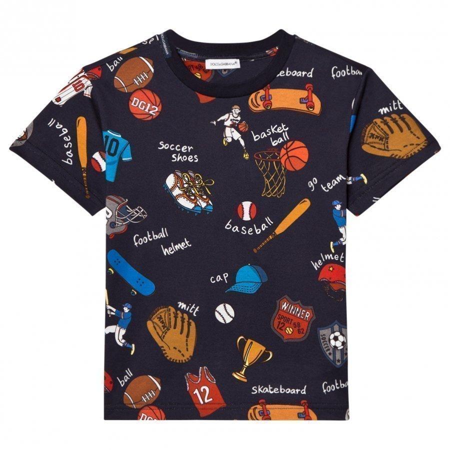 Dolce & Gabbana Navy Sports Cartoon Print Tee T-Paita