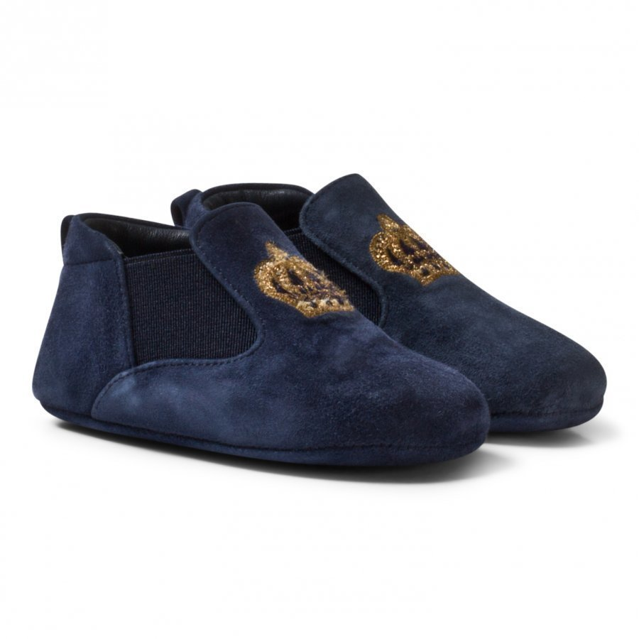 Dolce & Gabbana Navy Velvet Crown Crib Shoes Loaferit