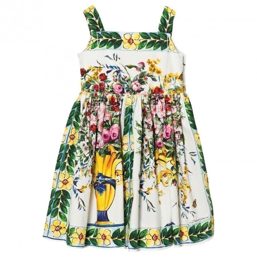 Dolce & Gabbana Pink Floral Majolica Print Cotton Dress Mekko