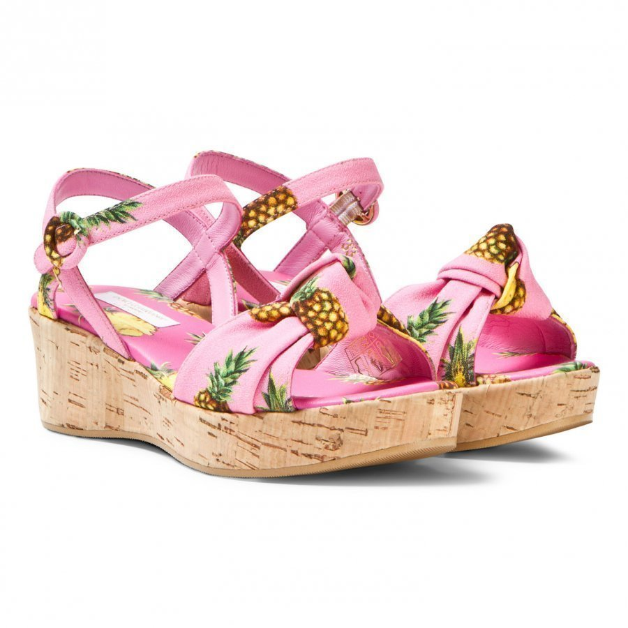 Dolce & Gabbana Pink Pineapple Print Cork Wedge Sandal Remmisandaalit