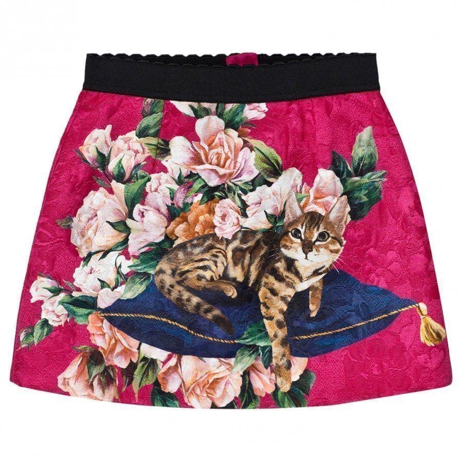 Dolce & Gabbana Pink Zambia Brocade Skirt Lyhyt Hame