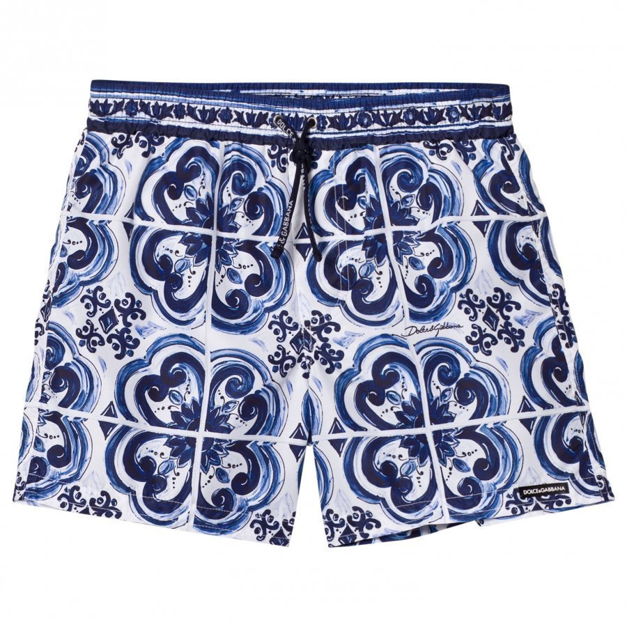 Dolce & Gabbana Printed Beach Shorts Blue Uimahousut