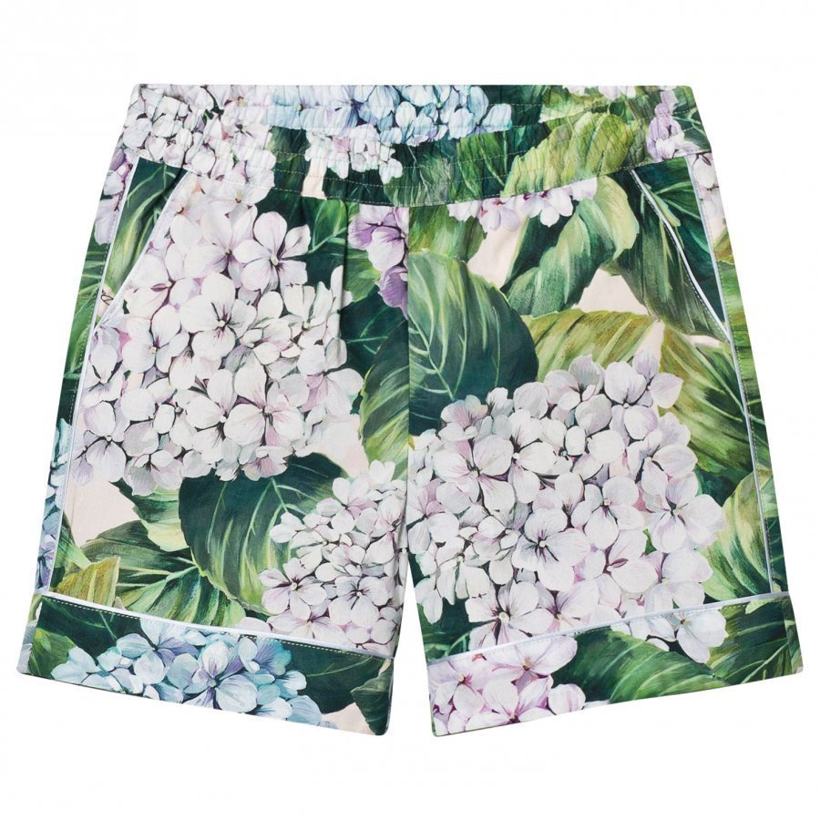 Dolce & Gabbana Printed Cotton Shorts Green Shortsit