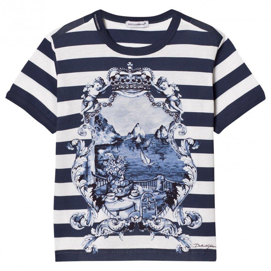 Dolce & Gabbana Printed Cotton Tee Blue T-Paita