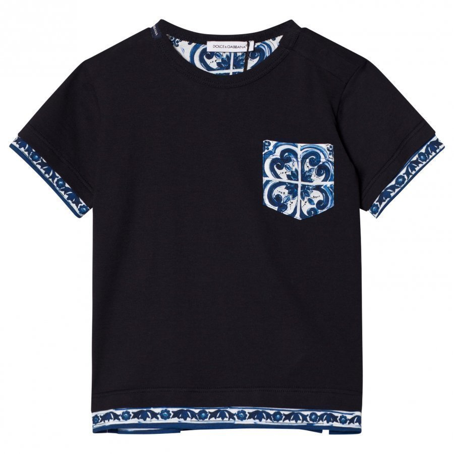 Dolce & Gabbana Printed Cotton Tee Navy T-Paita