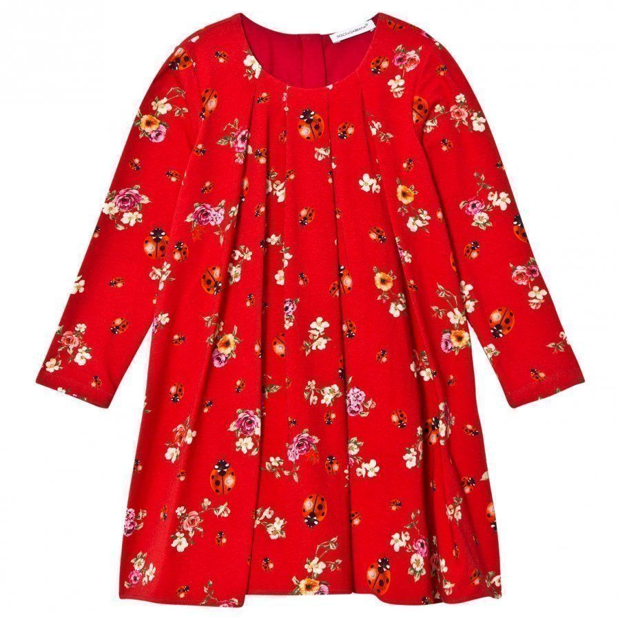 Dolce & Gabbana Red Floral Lady Bird Dress Mekko