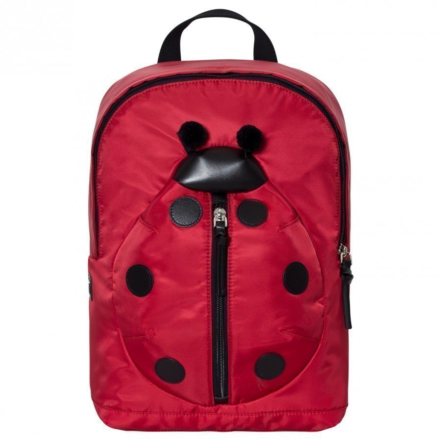 Dolce & Gabbana Red Ladybird Leather And Nylon Backpack Reppu